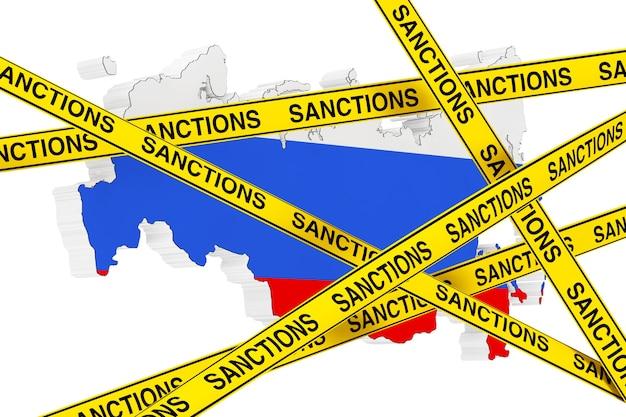 Концепция санкций против россии. желтая лента со знаком санкций против карты россии с флагом на белом фоне. 3d рендеринг