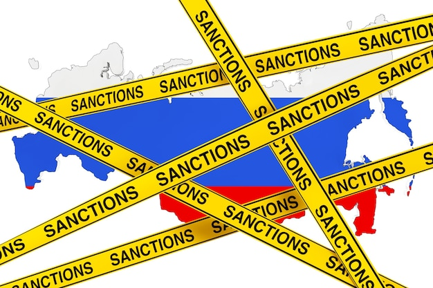 Russia sanctions concept. yellow tape with sanctions sign against of russia map with flag on a white background. 3d rendering