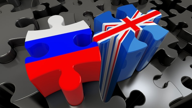 Russia and united kingdom flags on puzzle pieces. political relationship concept. 3d rendering