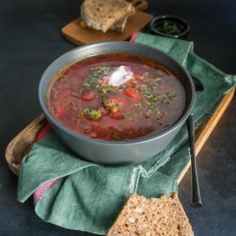 Russian borsch in a bowl
