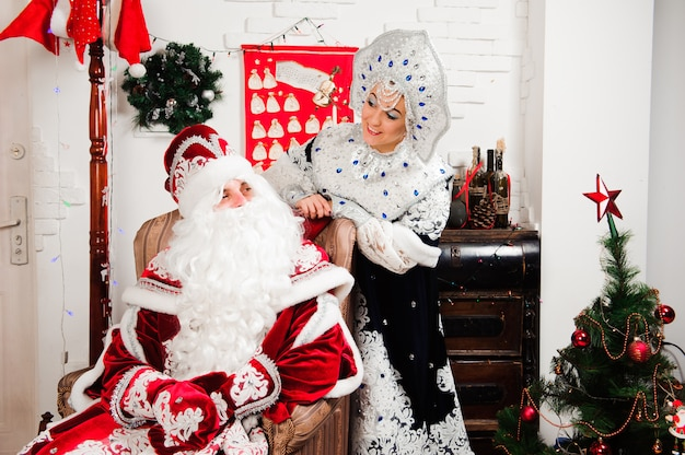 Russian christmas characters: ded moroz, father frost and snegurochka, snow maiden