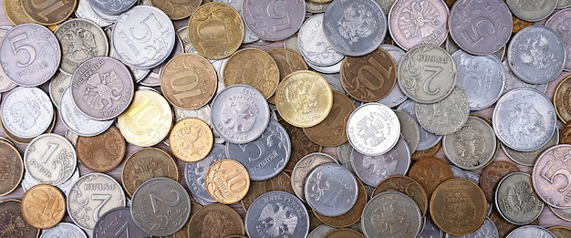 러시아 동전 금속 돈 루블과 kopecks.