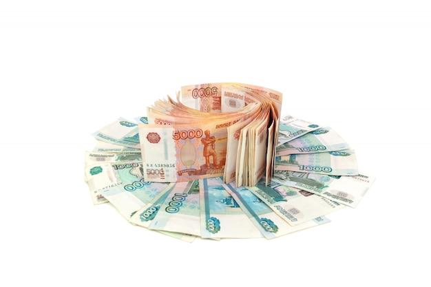Российская валюта на белом фоне