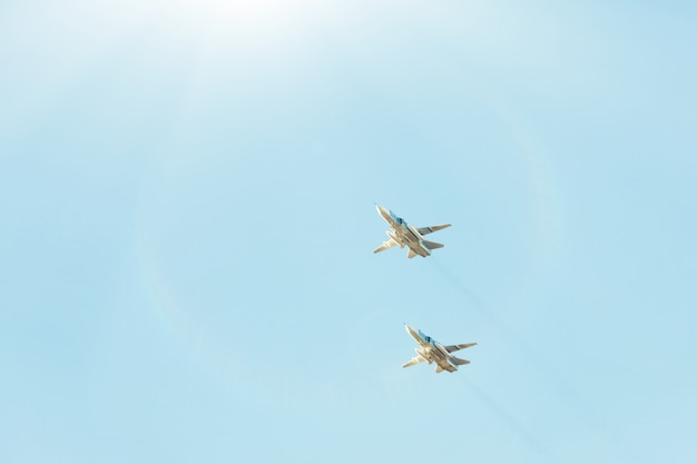 Russian fighters in the sky on the feast.