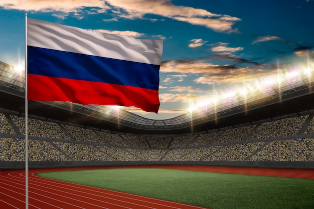 Russian flag in front of a track and field stadium with fans.