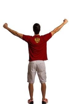 Российские футбольные фанаты празднуют в белом космосе