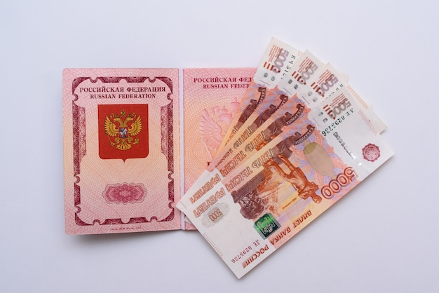 Russian international passport with rubles