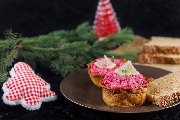 러시아 주방 청어. 러시아 새해 요리 전통