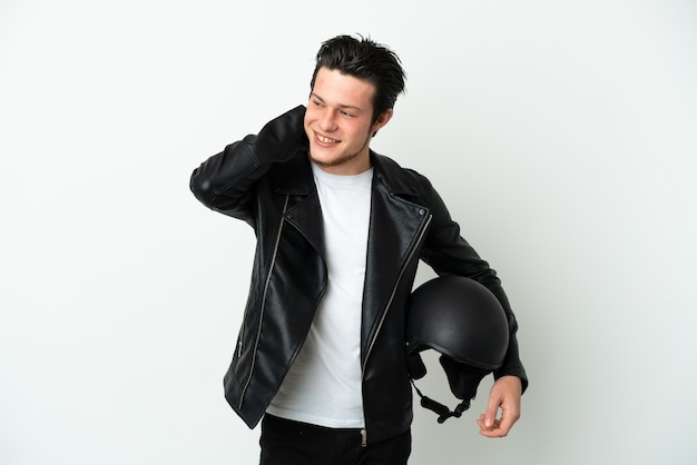 Russian man with a motorcycle helmet isolated on white background laughing