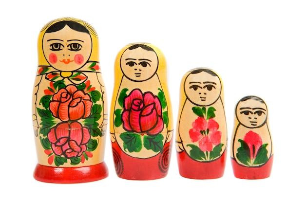 Russian matryoshka dolls in a row