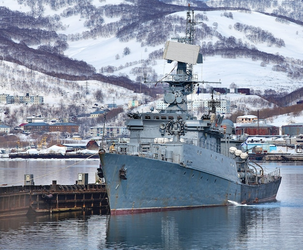 Russian military ship on pacific ocean