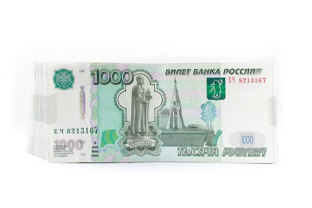 Russian money rubles, one thousand isolated