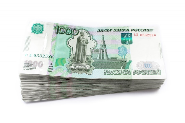 Russian money rubles, one thousand, white background
