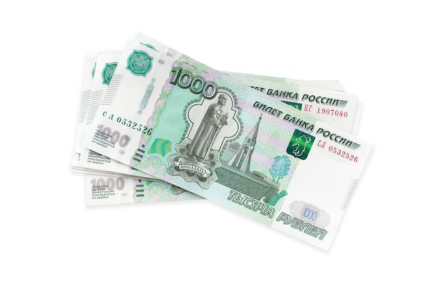 Russian money rubles, one thousandisolated