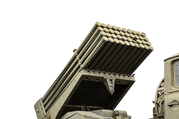 Russian multiple rocket launcher mounted on a soviet military truck isolated on a white background