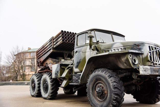 Russian multiple rocket launcher mounted on a soviet military truck