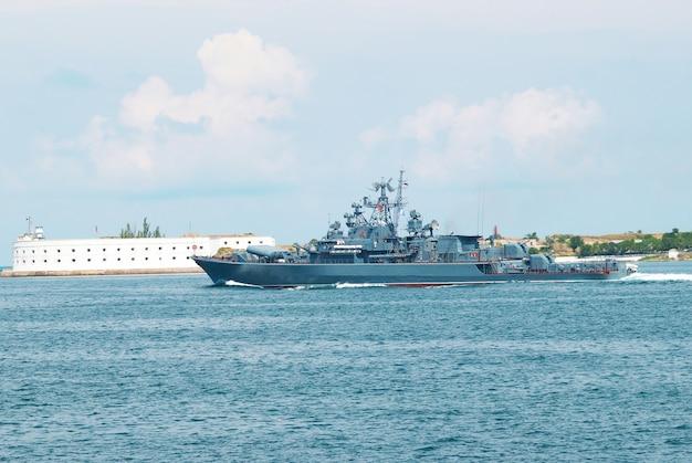 Russian navy warship in the black sea bay