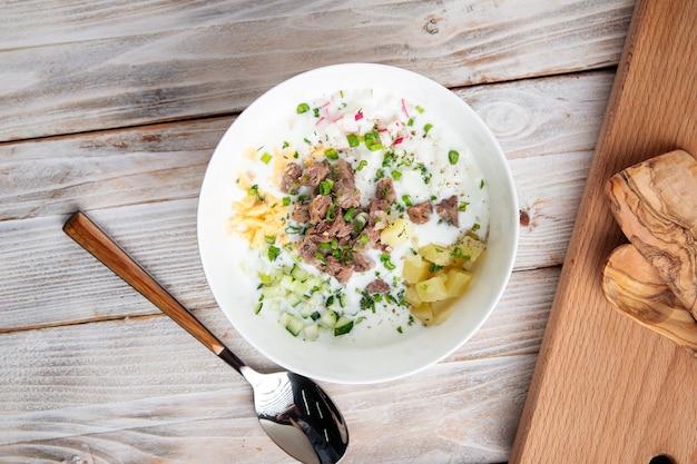 牛肉と野菜のロシアのオクローシカスープ
