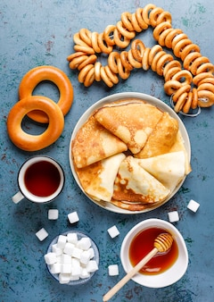 Russian pancake blini with sauces and ingredients