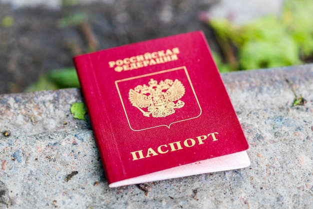 The russian passport is on the street. loss of documents. high quality photo