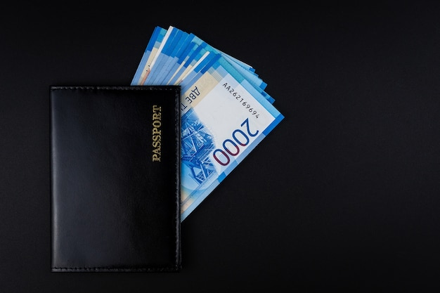 Russian passport and rubles banknotes