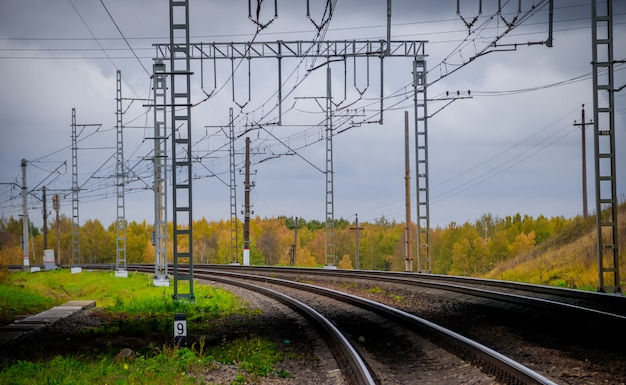 Russian railway. rails sleepers contact network.