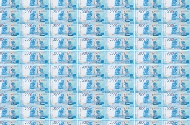 Банкноты российских рублей напечатаны на конвейере производства денег