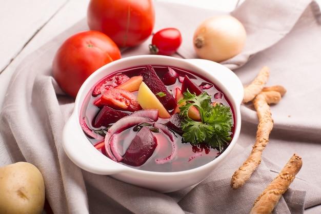 Russian traditional borsch soup