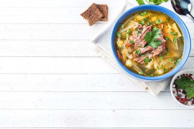 Russian traditional cabbage soup with meat and fresh herbs on a light table.