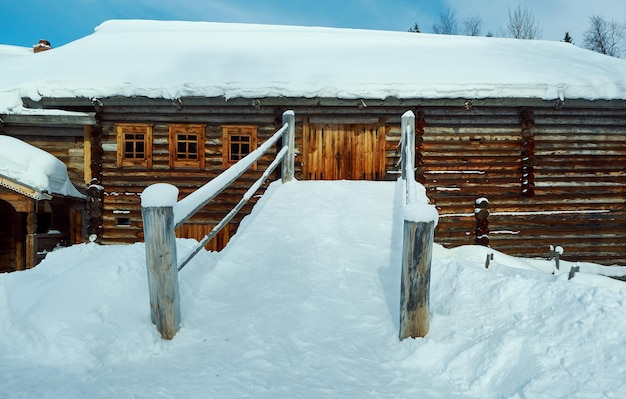 Russian traditional wooden peasant house , malye karely village, arkhangelsk region, russia