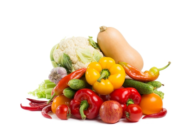 Russian vegetables isolated on a white
