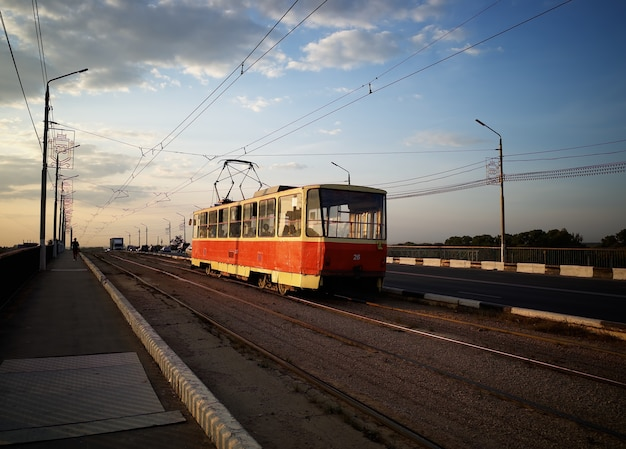 Russian vintage trolley on the road transportation background