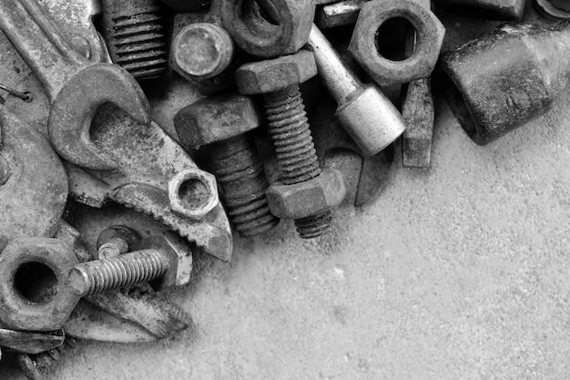 Rust steel pieces on cement ground