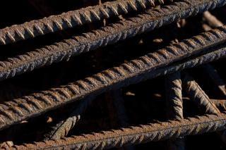 Rusted metal bars, pile