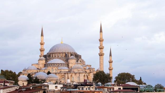 흐린 날씨에 타워가있는 rustem 파샤 모스크, 이스탄불, 터키의 전경에있는 건물의 지붕