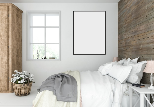 Rustic bedroom with empty vertical frame, artwork display
