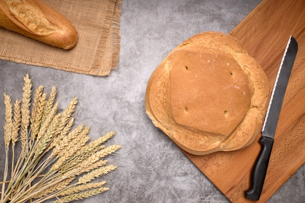 Rustic bread and wheat spikes on a grey background