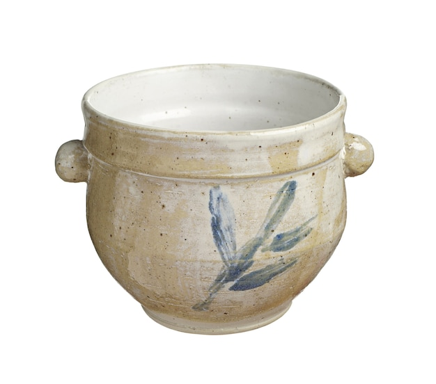 Rustic ceramic flower pot with stylized decorative ornaments