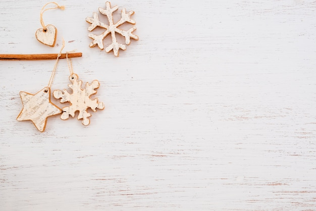 Rustic christmas decorative, xmas ornament on wood background.