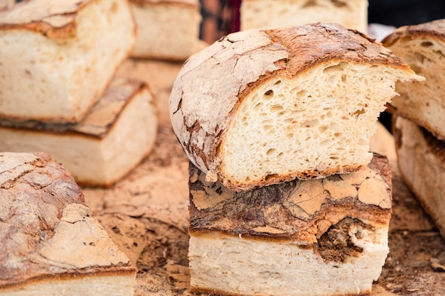 Rustic country bread freshly prepared on the sunday market in italy.