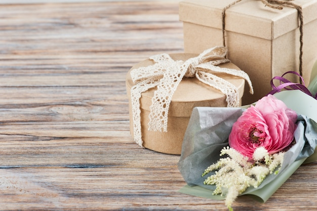 Rustic craft gift boxes with wild flowers