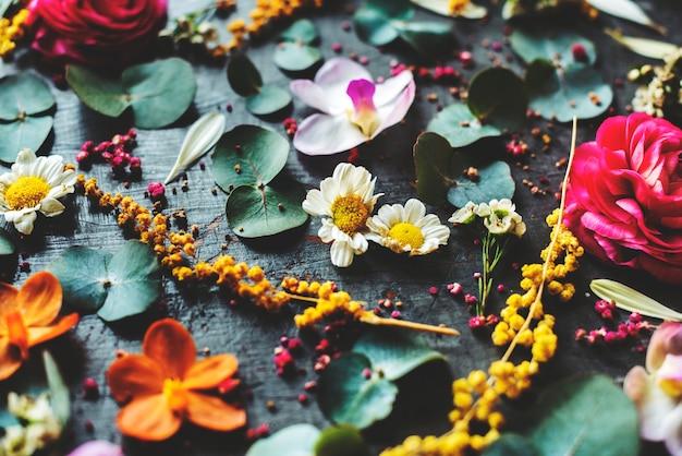 Деревенские декоративные цветы и листья
