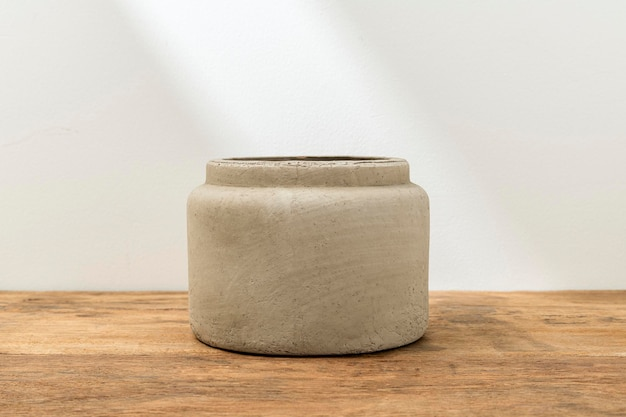 Rustic decorative plant pot on table
