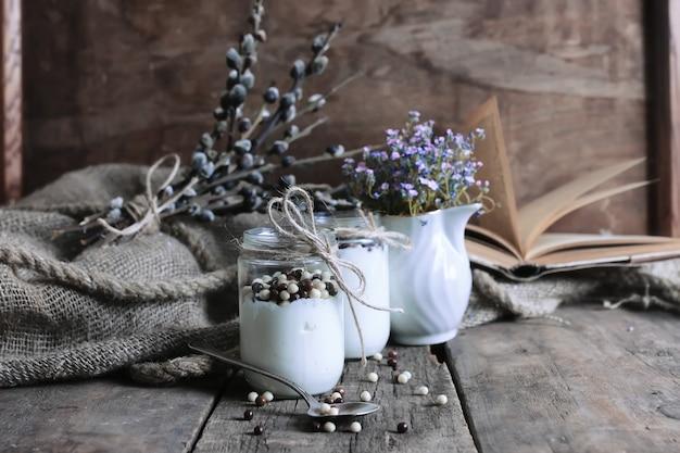 Rustic homemade yogurt jar