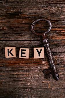 Rustic keys on wooden table