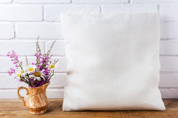 Rustic linen pillowcase mockup for design presentation