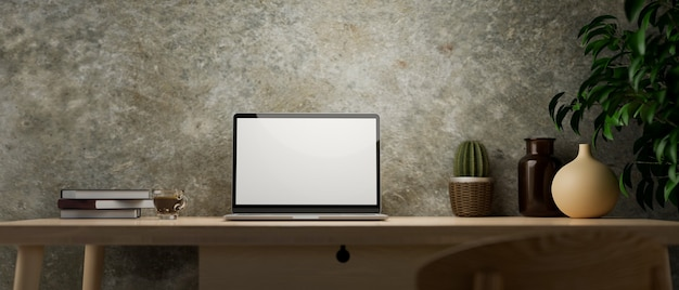 Rustic loft wall interior modern vintage workspace laptop mockup and vintage decor on wooden desk