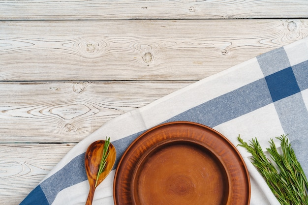 Rustic style table setting on wooden table