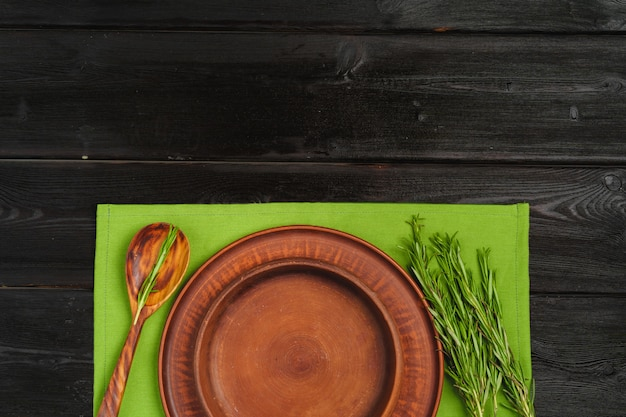 Rustic style table setting on wooden