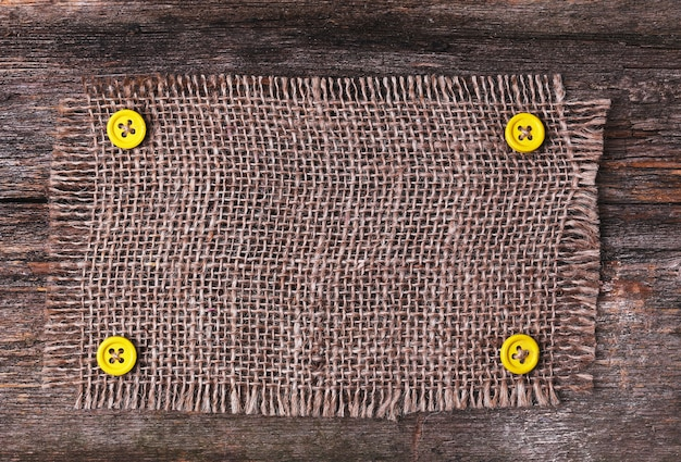 Rustic tablecloth frame on wooden texture